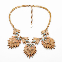 Gold Plated Crystal Leaves Bib Necklace