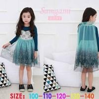 2014 New Autumn Frozen Dress Long Sleeve Lace Tippet Fashion Girls Dresses Princess Girl Dress 5 pieces / lot 1206