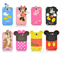 3D Cartoon duck mickey minnie mouse bear piglet chip pooh phone case back cover for Samsung Galaxy Note II N7100 PT1377
