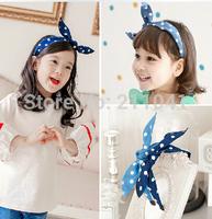 2014 newest 10pcs fabric rabbit ear hairbands for children baby girls headwear polka dot bow hair accessories P60