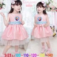 2014 New Summer Frozen Dress Pink Princess Girls Dress Fashion Elsa Dress 5 pieces / lot 1205