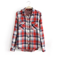S-L 3 color of new fund of 2014 autumn winters before England grid lapel single-breasted leisure double sidekicks women shirts