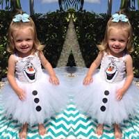 2014 New Summer Frozen Dress White Snowman Princess Girls Dresses Gallus Girls Full Dress 5 pieces / lot 1207