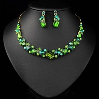 Best Gifts for Perfect Lady Evening Dress Jewelry Set with High Quality Crystal Necklace and Earrings JS-SZ0059