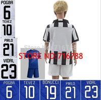 CUSTOM !14-15 Top quality #3 CHIELLINI 6# POBR 9# MORATA 10# TEVEZ 21# PIRLO 23# VIDRL shirt +short for kid Free shipping