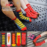 5 pair  Fashion British style retro hit color sub on the streets of cotton Burgers fries cola Harajuku socks of stocks