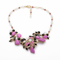 Floating Stacked Stone Light Purple Tone Statement Necklace