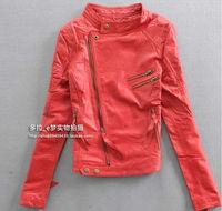 Luxury Girl's Women 100% Sheep Skin Leather Jacket Coat Slim Collar Zipper Korean Fashion Red Motor Free Shipping