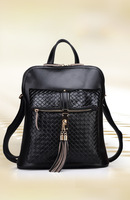 2014 fashion brief fashionable casual black shoulder bag big bag cowhide leather oil waxing women's genuine leather handbag