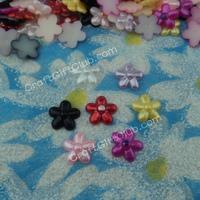 1000  Pearl Flower 5 Petal Bead Flat Back Wedding Scrapbooking Table Confetti Decoration Craft 12mm