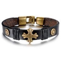 New Arrival Fashion Vintage Jewelry Gift Punk Bracelet Titanium Steel Genuine Leather Charm Bracelets & Bangles For Men Women