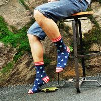 Fashion British style retro hit color sub on the streets of cotton Couples pentagram pattern Harajuku socks  5 pair