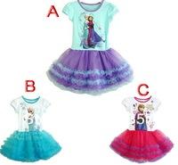 New Girls dress Retail 3-10yrs Girls' Frozen Dress kid's 2014 cartoon summer dress girl's tutu princess dress lovable clothing