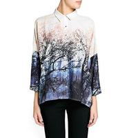 2014 Autumn new europe fashion women long sleeve print trees loose chiffon shirts blouses Top for ladies plus size