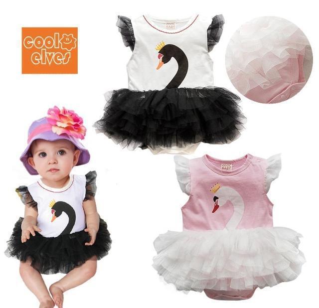 Free shipping 2014 new Retail Spring summer baby girl Romper Swan princess skirt(China (Mainland))