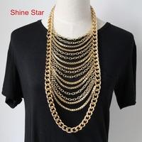 Fashion SUPER Sexy Multirow Gold Plated Body Fine Al Chain Pendant Choker Collar Statement Necklace For Women Jewelry Item,C31