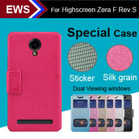 items Free Shipping Dual Viewing Windows Cool Case PU Leather Special Case + Free Gift For Highscreen Zera F Rev.S