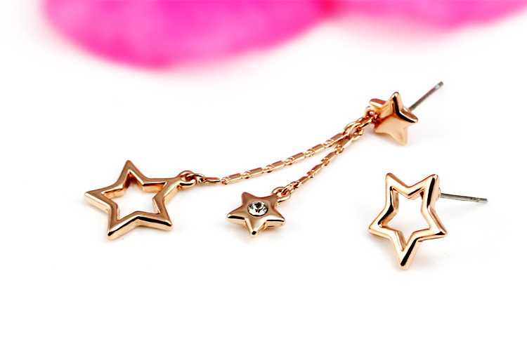 Star Shaped Gold Earrings Rose Gold Star Shaped