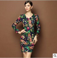 2014 Spring And Autumn New Europe Women Clothing Dress Vintage Style Fashion Printed V-neck Plus Size Women Winter Casual Dress