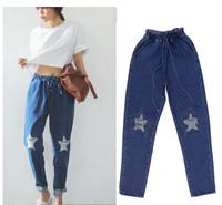 Women Jeans Fashion Star Hole Pants Loose Lace-up Jeans Harajuku Plus Size S-XL P8017