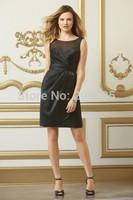 2014 New Fashion Custom Made black keen-length  Prom Dresses Cocktail Dress short Evening Dress  o-neck