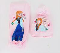 2014 New Girls Christmas Gifts Frozen Elsa Anna Scarf Hat Set Frozen Scarves Cap Anna Elsa Children knitted Hats Scarves 2pcs/Se