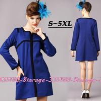 S-5XL Brand Ladies Blue Crisscross Patchwork Long Sleeve Knee length Dresses 2014 Autumn Winter Plus Size Women Clothing G208