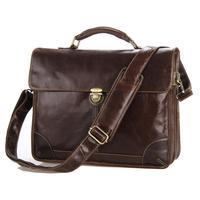 2015 new men's messenger bag vintage Italian oil wax leather handbag cross Mens 100% genuine leather briefcase