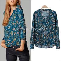 2014 autumn spring new style fashion vintage floral printed blouses women Retro loose cotton blends Casual shirt plus size XL