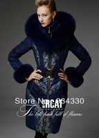 Top!!XXL Coat Limited Edition Winter Fashion Women's High Quality Luxury fox fur Medium-Long Down Coats Elegant Warm Outwear