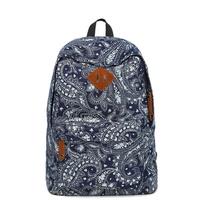 "Vintage style Blue Canvas printing Backpack Rucksack Women backpack travel bag school bag for girls mochila feminina 15"" laptop"