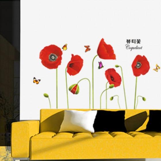 Bright Red Corn Poppy Beautiful DIY Wall Wallpaper Stickers Art Decor Mural Room Decal(China (Mainland))