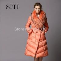 SITI S-XL 2014 Newest Fashion Brand down Coat Women Raccoon collar long down jacket 14DC025