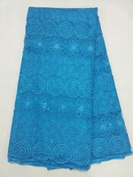 (5yards/lot)ATS2-6!Blue! Free shipping embroidered water soluble lace fabric,factory price African guipurelace for wedding dress