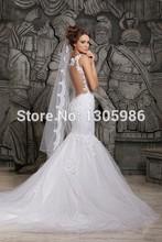 Grátis frete 2014 Designers laço branco e ver através sereia vestidos de casamento com removível Train nupcial vestidos Tulle(China (Mainland))