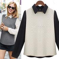 ZA** 2014 winter Vogue T-shirt peter pan collar chiffon patchwork knitted sweater wave t shirt top blusa feminina woman clothes