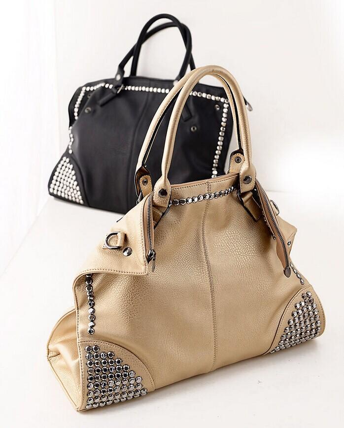 New winter 2014 hot rivet punk diamond lady hand the bill of lading shoulder inclined shoulder bag bag(China (Mainland))