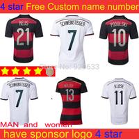 soccer jerseys Alemanha women jersey 2014 home white soccer jerseys 8 ozil muller football Away black jersey
