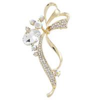 2014 Hot Sale Fashion Gold Rhinestone Flower Brooches Bouquet pins