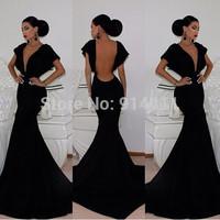 2014 New Wedding Dresses Long Evening Deep V Neck Backless Dress Prom Party Evening Elegant Vestidos De Festa Black Club Gowns