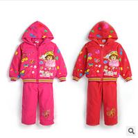 three pieces sets of Dora newborn baby set Children Set thickened newborn baby girls winter suits tshirt + jacket + pants 0-2t