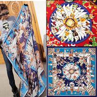 131*131 Star with the scarf Myth chaddar large squares Female shawl Cotton twill silk scarves Women Big Size Scarf
