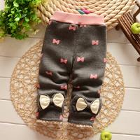 2014 New Winter Thickened girls Leggings Soft Bow Babys pants B033