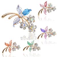 Fashion Women Brooch For Wedding Enamel Leaves Flower Crystal Diamante Rhinestone Brooch Pins Boutique Breastpin