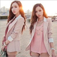 2014 Autumn new Korean fashion Slim was thin long-sleeved suit suit stitching color coat big yards Ms. Fall