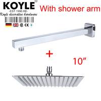 """KOYLE - 10"""" Shower head + arm showerheads chuveiro de parede chuveiros rain shower banheiro chuva espelho bathroom accessories"""
