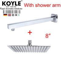 """KOYLE - 8"""" Shower head + arm showerheads chuveiro de parede chuveiros rain shower banheiro chuva espelho bathroom accessories"""