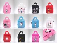 "Free shipping Cute Hello KT Mickey Minnie Print Handbag with Sleeve for iPad Mini 2/3/4/5 Samsung All below 10.0"" Tablet PC Bag"