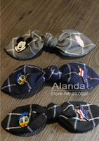 "Freeshipping 12pcs/lot 9"" England Style Plaid Large Bow Hair clip Mickey Donald Cute Hair Bow Barrette F81033 (black blue grey)"