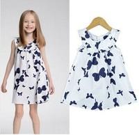 Wholosale 2014 Children's Clothing Summer Next high-quality 100% cotton girl's dress kids princess Butterfly Dress 4pcs/lot